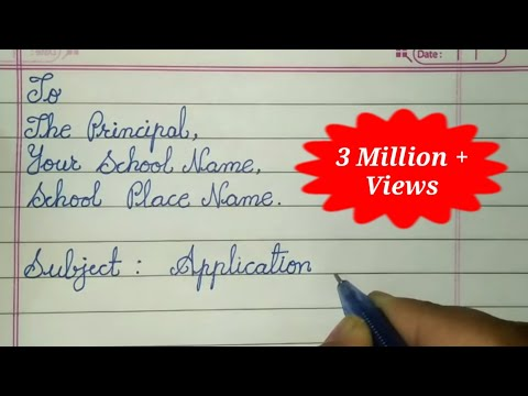 Write Sick leave application to the Principal - Letter writing in Cursive