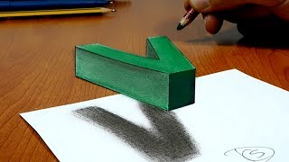 Try to do 3D Trick Art on Paper, floating letter V