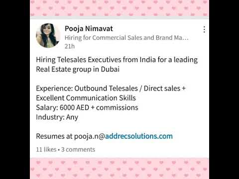 New Jobs in Dubai ( Tele Calling / Accounts )