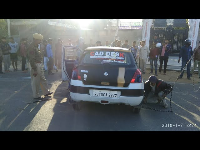 Swift car accident in sikar