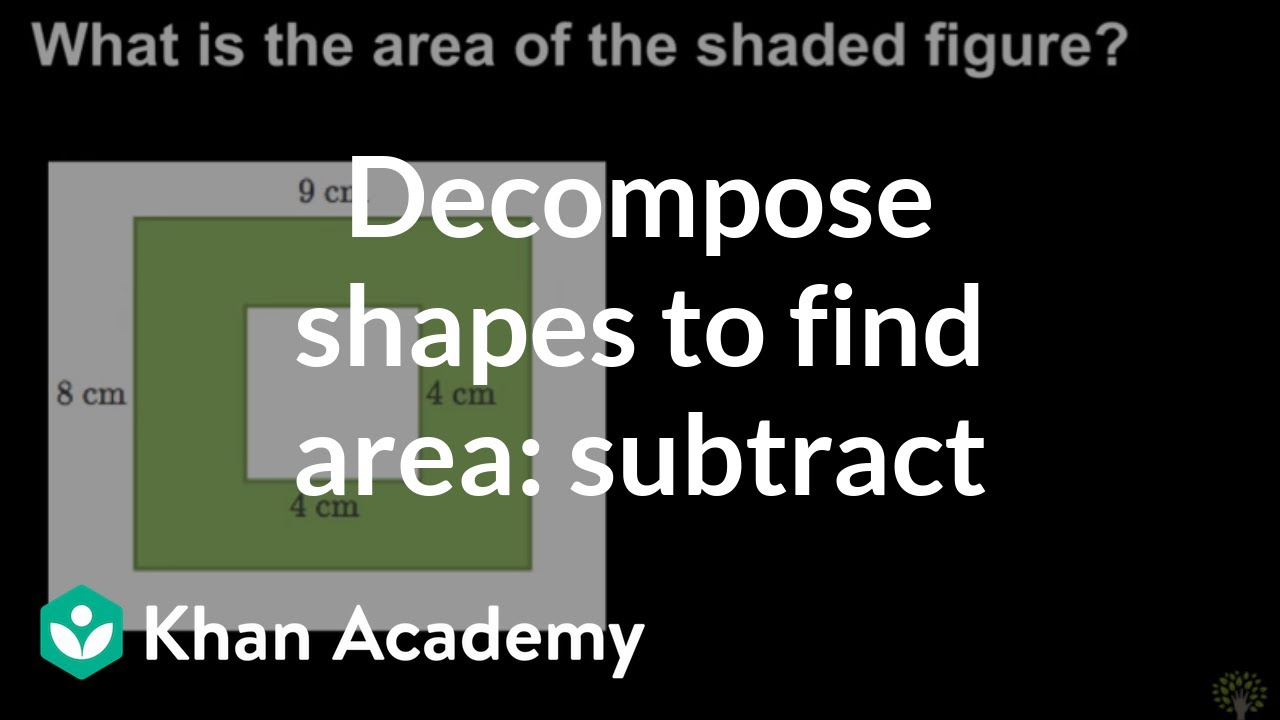 medium resolution of Decomposing shapes to find area: subtract (video)   Khan Academy