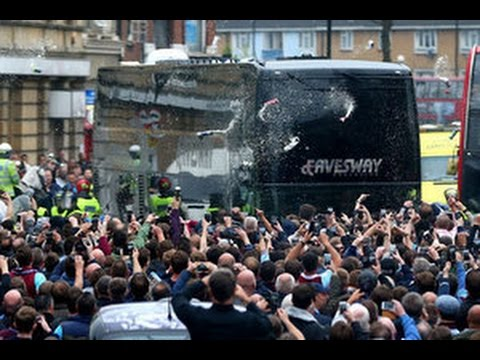 Manchester United Bus Under Heavy Attack by West Ham Fans!