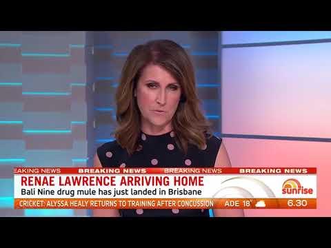 Renae Lawrence arriving home || Bali nine drug mule landed in Brisbane