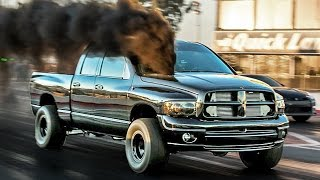 Twin Turbo DIESEL MONSTER - Dodge Cummins SKATES Down Drag Strip!!