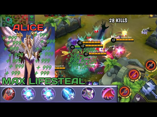 MAX LIFESTEAL IN MOBILE LEGENDS | 28 kills | ALICE 100% BAN MUST SEE !!!