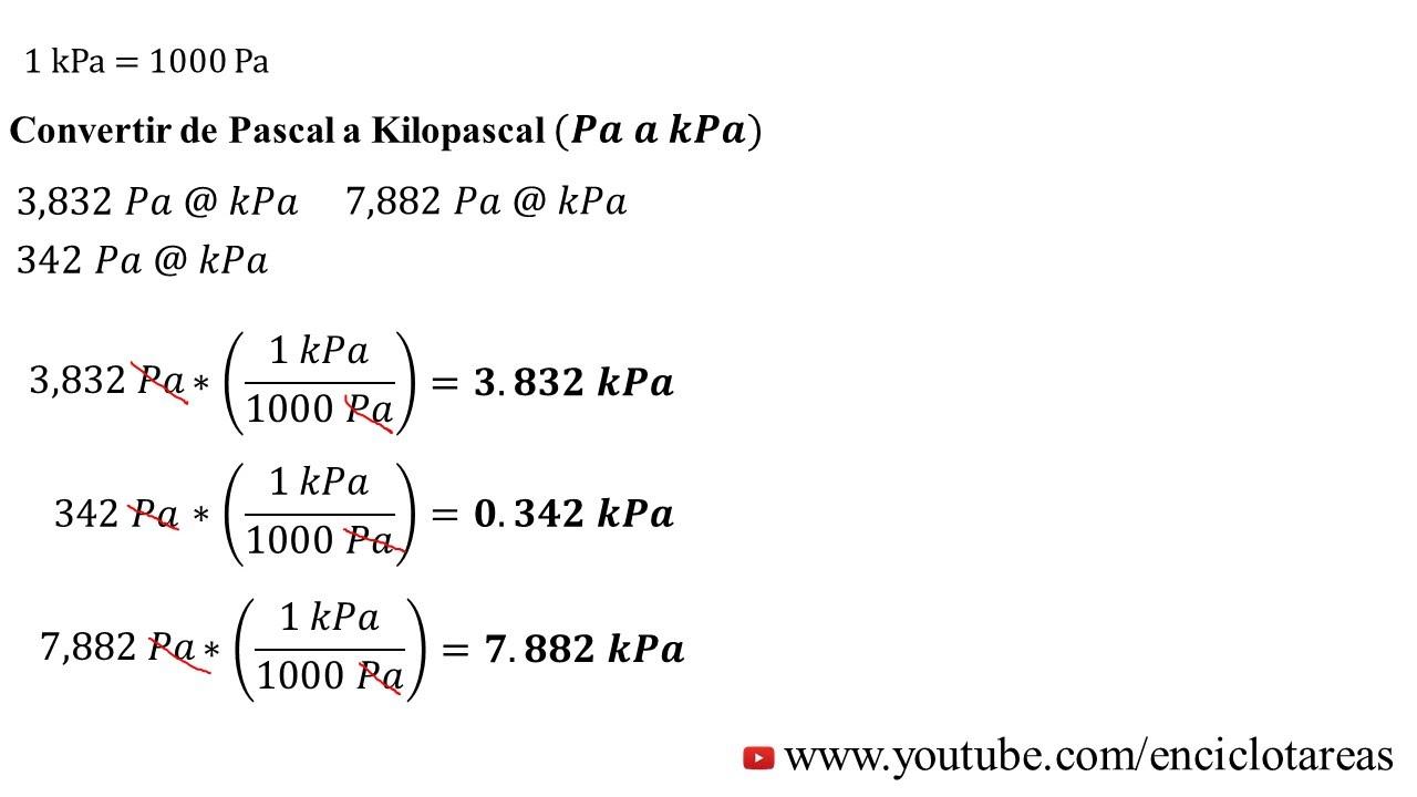 Convertir De Pascal A Kilopascal Pa A Kpa Youtube