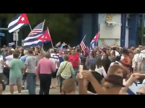 We're in the streets of Little Havana, Miami, where crowds are celebrating the death of Fi - 【Fidel