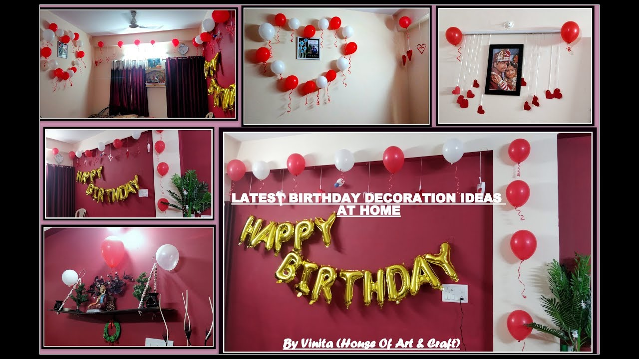Latest Birthday Decoration Ideas-surprise decoration for husband |red and  white theme decorations |