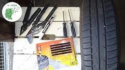 Réparer un pneu avec une mèche.