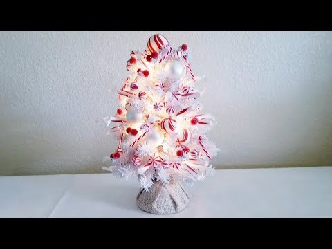 MINI PEPPERMINT CHRISTMAS TREE DIY WITH LIGHTS 2017
