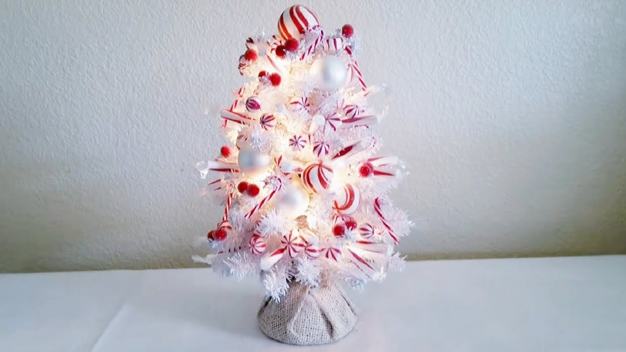mini peppermint christmas tree diy with lights 2017 - Peppermint Christmas Tree