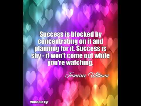 Tennessee Williams: Success is blocked by concentrating on it and plan......