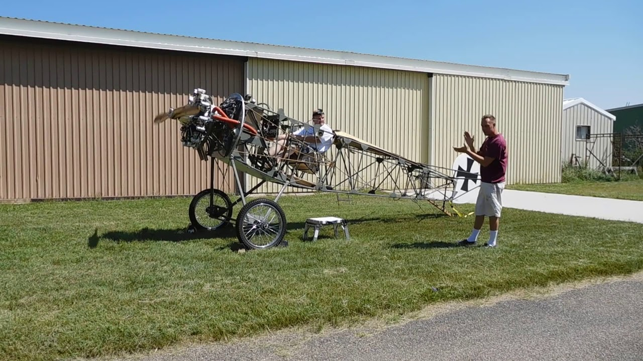 Keith's Fokker DR 1 Rotec R2800 First Start - Take 4