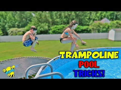 TRAMPOLINE TRICKS IN TO A SWIMMING POOL!