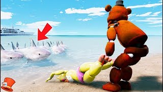 GUESS IF TOY CHICA WILL BE SAVED FROM THE HUNGRY SHARKS! (GTA 5 Mods For Kids FNAF RedHatter)