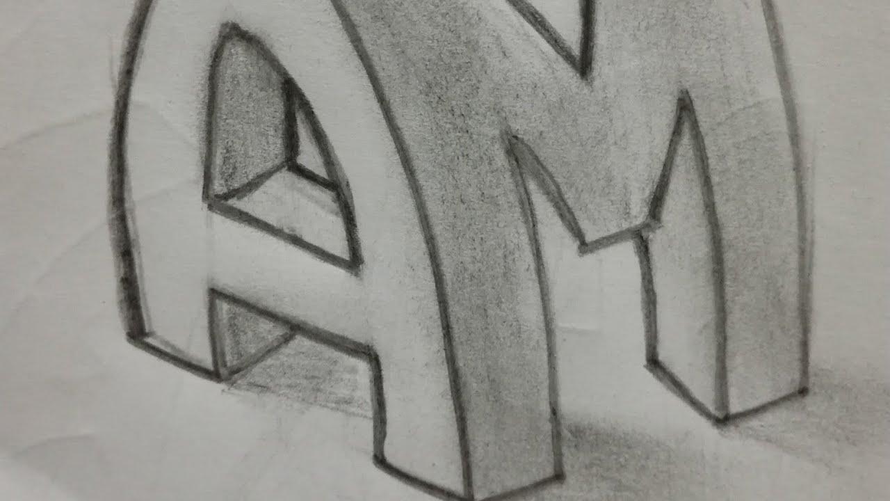 Объемные буквы картинки карандашом