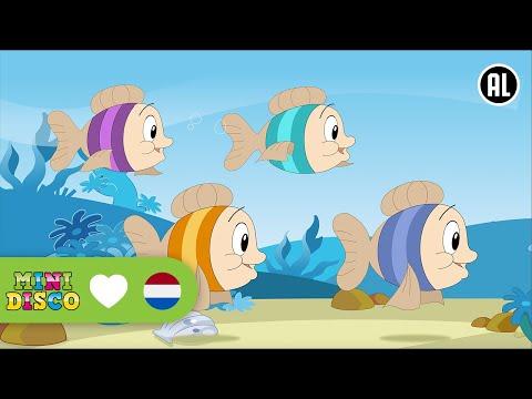 Vier Kleine Visjes | Kinderliedjes | TEKENFILM | Liedjes voor peuters en kleuters | Minidisco