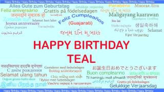 Teal   Languages Idiomas - Happy Birthday
