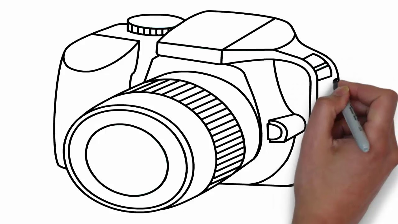 How To Draw A Camera Easy Step By Step Drawing Dslr Youtube