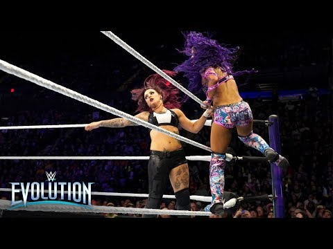 Sasha Banks brutally smashes Ruby Riott into the canvas from the top rope: WWE Evolution 2018