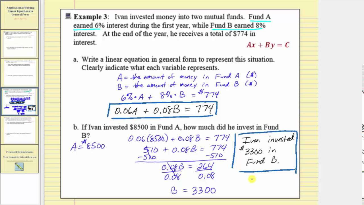 application writing linear equation in general form part 2