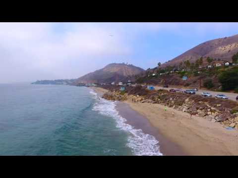 DJI Phantom 4 Drone Coastal Footage of Malibu Beach California