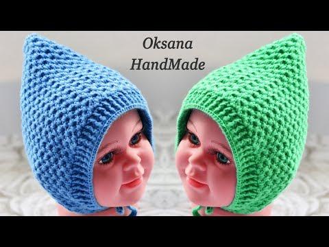 Зимняя шапочка крючком для новорожденной девочки