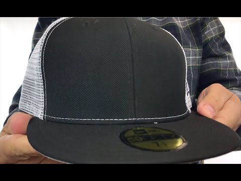 1460de50bc4ab New Era  MESH-BACK 59FIFTY-BLANK  Black-White Fitted Hat - YouTube