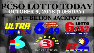 Lotto Results Today, October 9, 2018 (Tuesday) - PCSO LOTTO TODAY