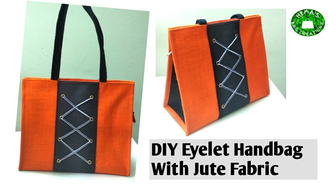 #jute Bag Manufacturing Process/How To Make Eyelets Handbag With Jute Fabric/Jute HandBag #stitching