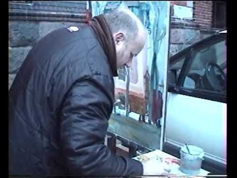 Riga virtuoso Alexey Naumov. How to make acrylic art in 20 min. Dags Vidulejs video.