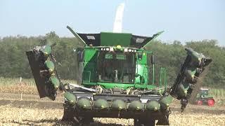 John Deere S790i kombájn munkában, Claas traktor, Annaburger, Szántóföldi Napok, v180921-2-061