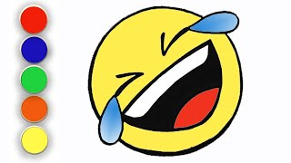 Laughing Emoji | How to draw an ROFL(Rolling on the Floor Laughing) emoji |  Easy drawing for kids