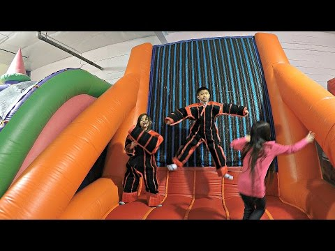 Indoor GIANT Bounce House Jumping Inflatable Bouncer: Velcro Wall, Huge Slide & Climbing Wall