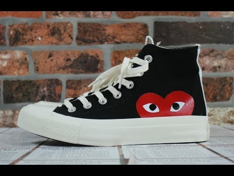 257279156c7b Unboxing Review On foot comme des garcon Play Converse Chuck Taylor All  Star  70 High (Black)