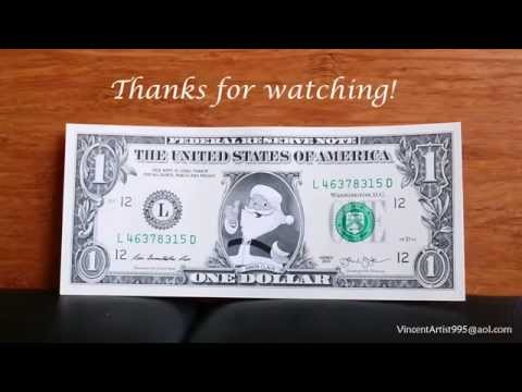 Santa Claus On REAL Dollar Bill - Money Art - Cash Currency Bank Note