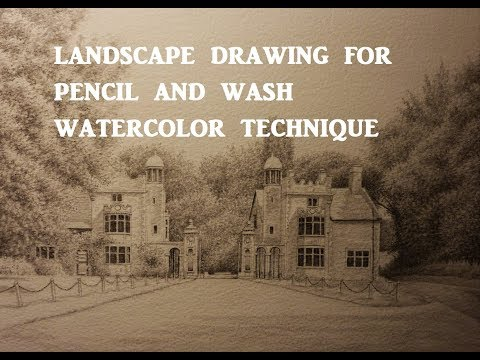 Drawing a Landscape for a watercolor painting, Pencil and Wash Technique