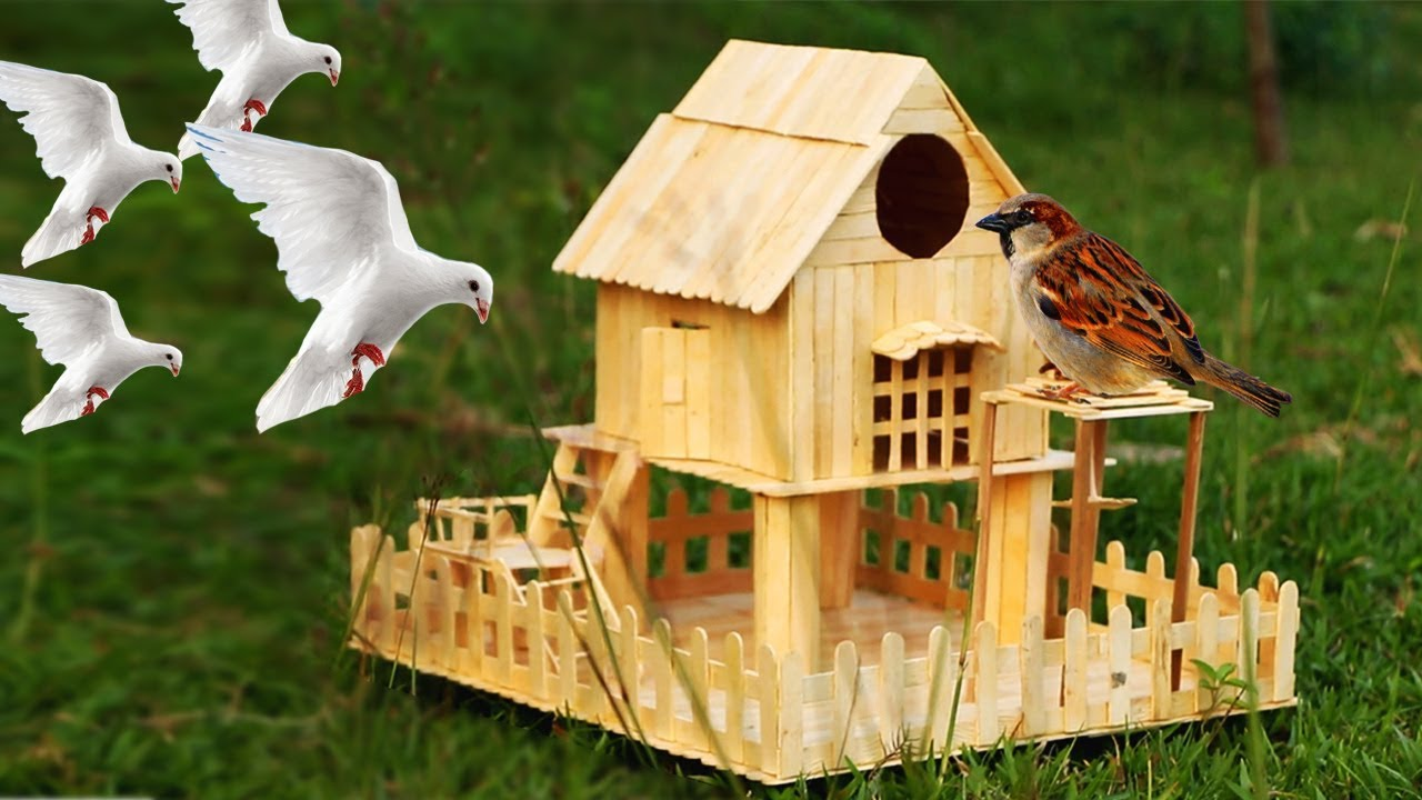 How to make popsicle stick house for bird youtube for How do i build a birdhouse