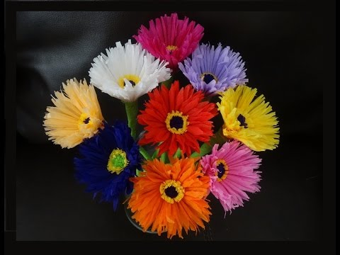 How to make paper flowers out of crepe streamers/ DIY Valetines day craft