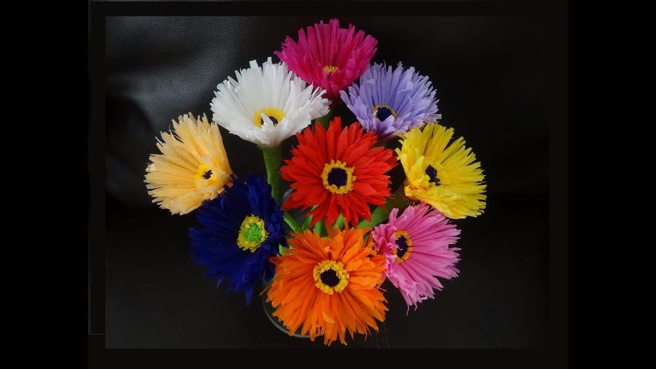 Papercraft How to make paper flowers out of crepe streamers/ DIY Mother's day craft