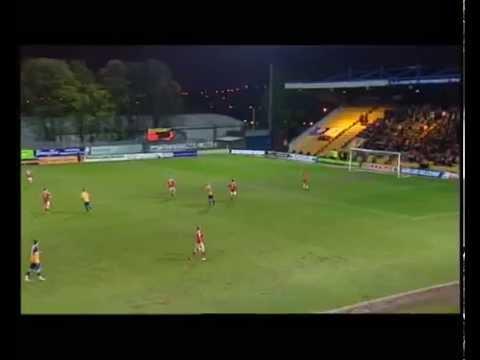THREE YEARS ON: Goalkeeper Alan Marriott scores against Wrexham