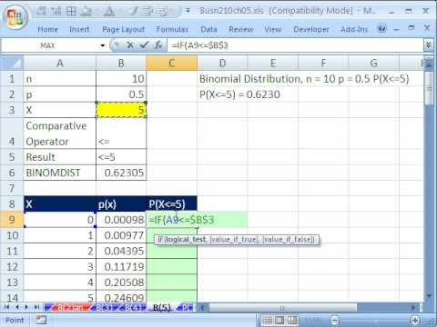 Excel Statistics 64: Cumulative BINOMDIST with IF Function for Cumulative  Distribution Charts