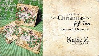Mixed Media Christmas Gift Tags Tutorial