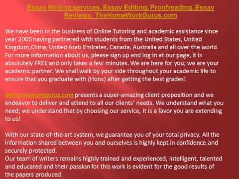 Essay Writing services, Essay Editing, Proofreading, Essay Reviews: TheHomeWorkGurus.com