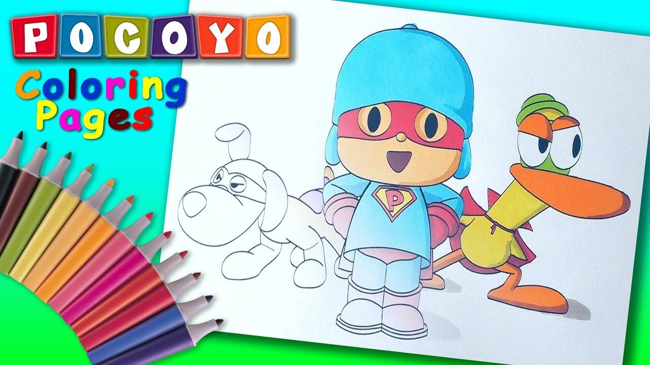 Pocoyo Super Pocoyo Coloring Book For Kids Pocoyo And His Friend Superheroes Colouring Youtube