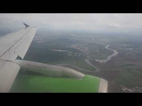 S7 Airlines A319-114 Flight S746 Approach, Landing And Taxiing In Moscow Domodedovo