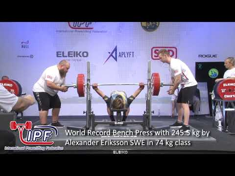 World Record Bench Press With 245 5 Kg By Alexander Eriksson Swe In 74 Kg Class Youtube