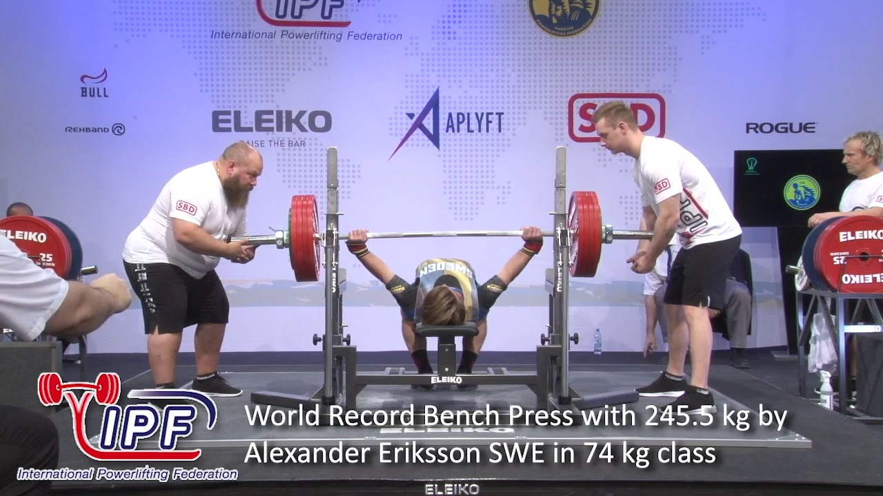 World Record Bench Press with 245 5 kg by Alexander Eriksson SWE in 74 kg  class
