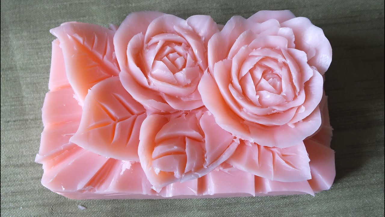How to make carving soap a rose flowers handmade การ