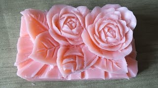 How to Make Carving Soap a rose  Flowers  handmade การแกะสลักผลไม้